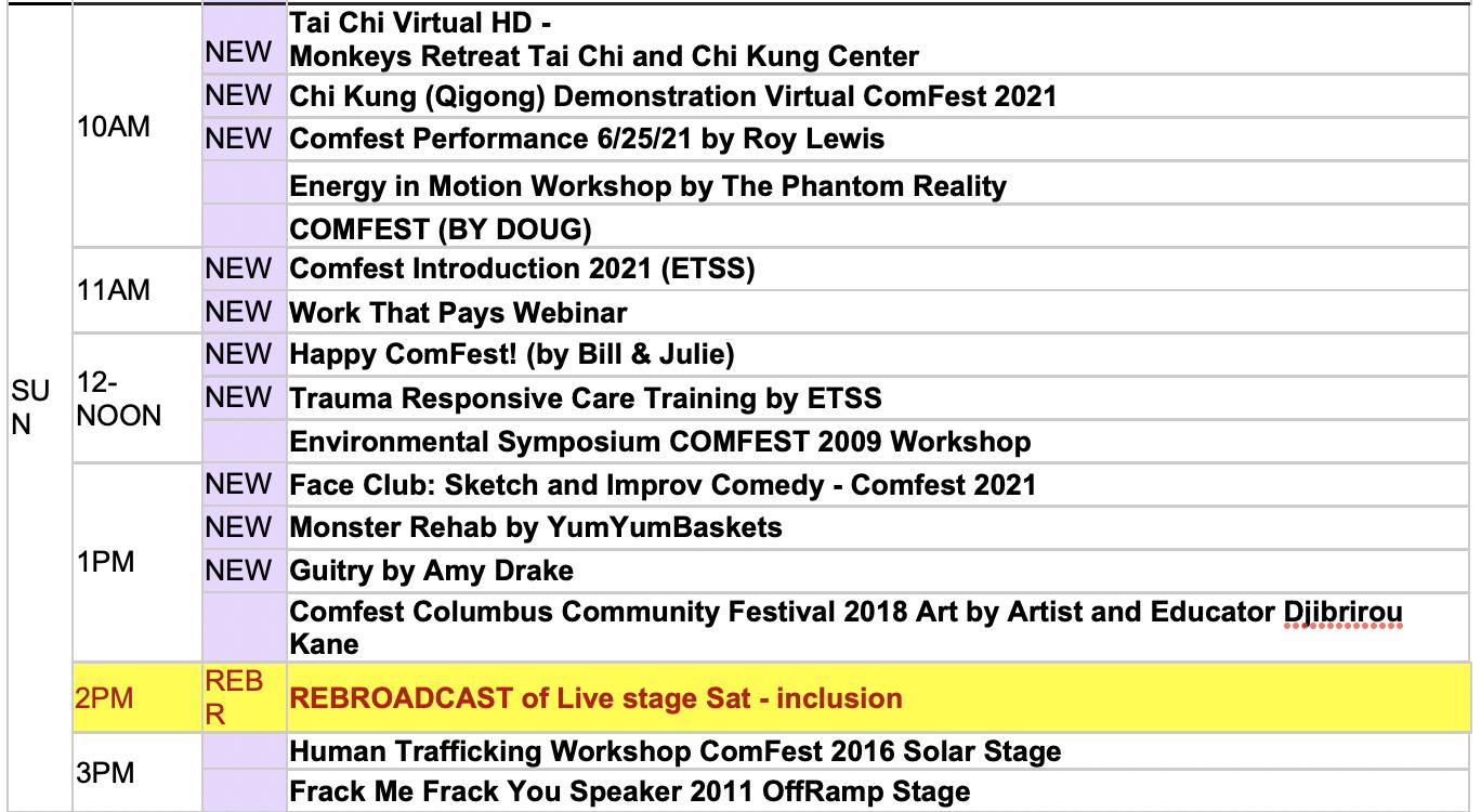 Sunday 2021 Workshop